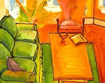 "Custom Interiors, Joanne White Interior 18"" x 22""  original oil painting"