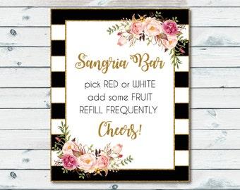 Sangria Bar Sign Black And White Stripes, Bridal Shower Sangria Printable Bar Sign, Black And White Gold Bridal Shower, Party Drinks Sign