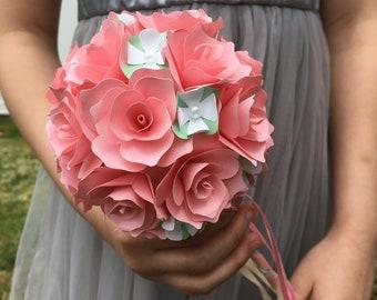 Flower Girl Wand - Flower Girl Alternative Basket - Paper Flower Wand - Flower Girl - Flower Girl Gift - Wedding Flower Bouquet - Wedding