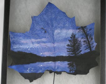 Hand painted Sycamore Leaf