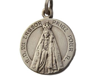 Our Lady Of Treasure - Jesus Sacred Heart - Antique French Religious Medal Pendant By Penin - Religious Gift