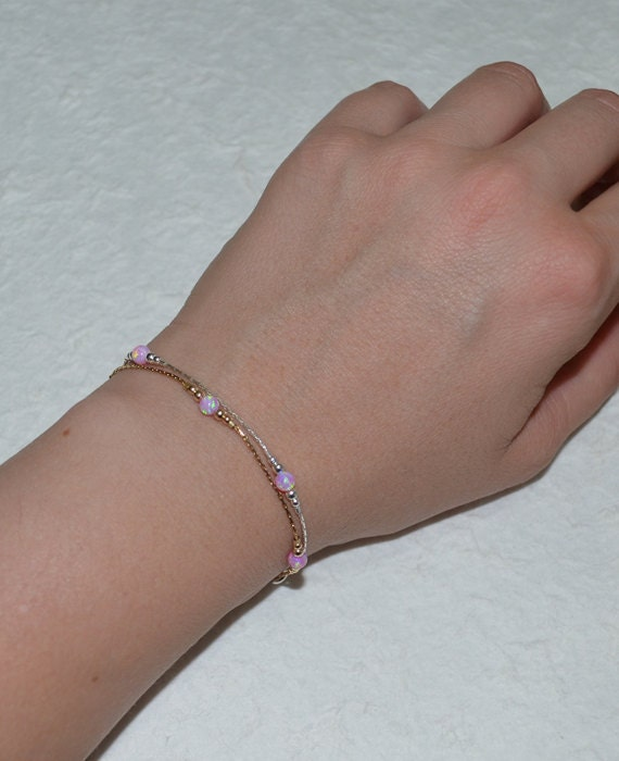 Opal Bracelet, Opal Ball Gold Bracelet, pink opal charm, tiny dot bracelet, opal bead bracelet, opal jewelry
