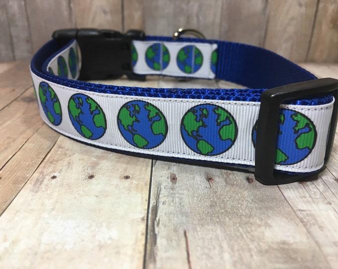 "The Earth | Designer 1"" Width Dog Collar | CupcakePups Collars | Love our Earth - Medium/Large Dog Collar"