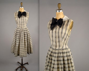 1950s pretty plaid party dress • vintage 50s dress • black and white cocktail dress