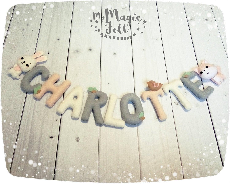 Filz Namen Banner Wald Baby Name Girlande Tiere Kinderzimmer