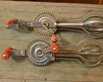 2 Egg Beater's ,Blue WHIRL, LADD has Pat. 1929,Red wood Handles Vintage Hand Egg Beater  Farmhouse Shabby Chic Decor,Stainless Steel USA