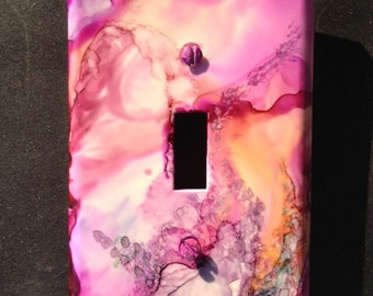 Switch Plate Handpainted - Soft Pink Peach Lavender w/ Abstract Flowers (No 3) Wall Decor