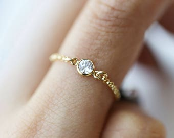 Diamond CZ Chain Ring // Dainty chain ring // Small Diamond rings // Stacking rings // Silver rings  stackable // Valentine's gift for her