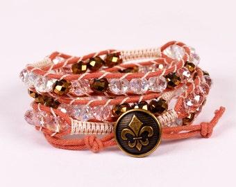 Rose Pink & Bronze Beaded Wrap Bracelet