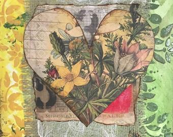 Gardeners Gift - Mixed Media Art -  Green Mixed Media Art - Gardener's Painting-Wall Art Canvas-Small Mixed Media-Unique Artwork-Heart Art