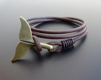 Whale tail leather bracelet, Whale Leather wrap bracelet, Whale charm bracelet, Nautical Bracelet, fish tail, dolphin tail bracelet, Cuff