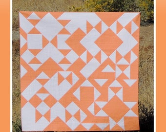 """OH HAPPY DAY modern quilt pattern -by Yvonne Fuchs of Quilting JetGirl Jet Girl -  lap size square quilt 64"""" x 64"""" two color pattern"""