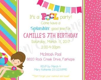 Stripe & Polka Dot Pool Party Invitation