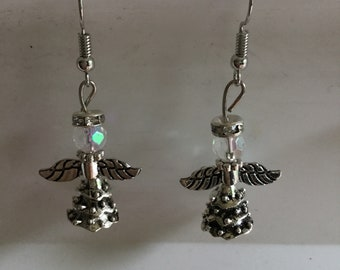Silver angel earrings handmade