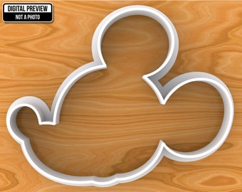 Mickey Mouse Cookie Cutter, Selectable sizes, Sharp Edge Upgrade Available