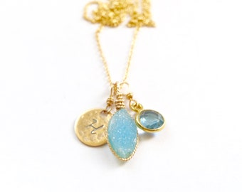 Ocean Blue Druze Personalized Charm Necklace Handcrafted by Bare and Me, Shimmering Blue Druzy, Handcrafted Personalized Wedding Party Gifts