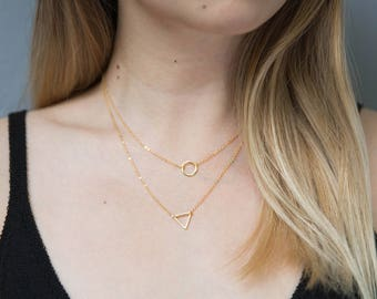 Geometric Layering Necklaces / Gold Circle Necklace / Gold Triangle Necklace / Gold Layering Necklace Set / Gold Layered Necklaces/Gift Idea