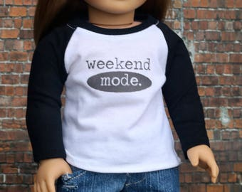 Weekend Mode Girl Doll Tee | Baseball Style with Graphic Long Sleeve for 18 Inch Doll