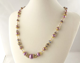 Purple Pearl and Crystal Bead Mix Necklace with Flowered Hook Clasp