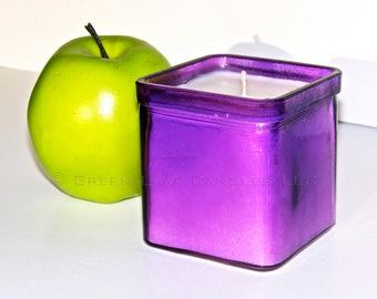 Soy Candle - Eco Friendly Candle - Dye Free - Fragrance Free - Purple Recycled Glass Candle Holder