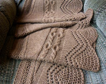 Hand Made Lace Shawl Knit in 100% Alpaca