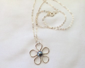Sterling Silver Flower Necklace With  Freshwater Pearl Center