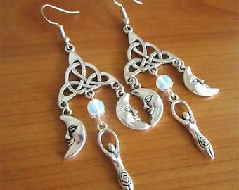 Triquetra Goddess earrings celtic pagan handmade