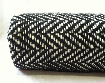 Herringbone Woven Blanket Black and White