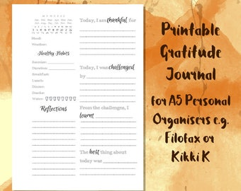 Printable Gratitude Journal for A5 Planners // Self Care Journal // Mindfulness Journal // Gratitude Printable // Happiness Journal