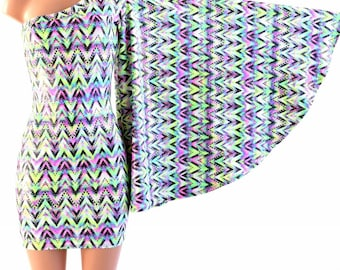 Chevron Candy One Shoulder Fan Sleeve Bodycon Dress in Stretchy Spandex UV Glow Sparkly 154109