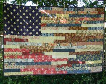 Americana Flag Cozy Comfortable Quilt, Wallhanging, Home Decor