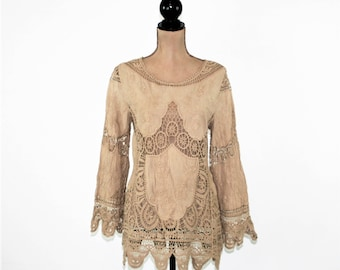 Bohemian Lace Embroidered Tunic Hippie Boho Top Cotton Brown Taupe Cutwork Blouse Bohemian Clothing Hippie Clothes Womens Clothing