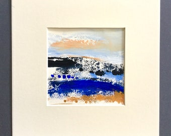 Small landscape painting, abstract landscape, art on paper, art gift, Acrylic painting