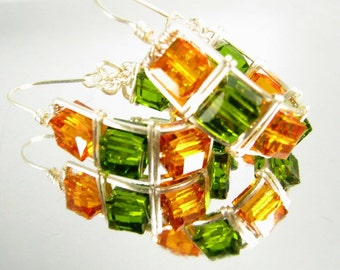 Cubic Splendor wire wrapped Earrings in Amber and Olive