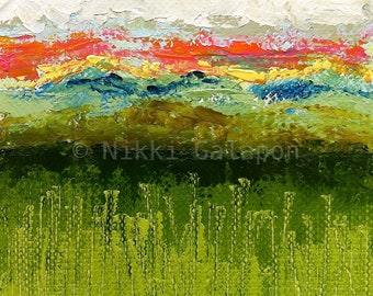 Abstract Landscape color field painting with green, blue, yellow red, gray and white, Archival PRINT of original oil painting