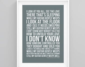 The Beatles While My Guitar Gently Weeps Lyrics Poster Print Artwork