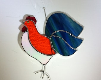 ROOSTER - Stained Glass - Handmade - Year of the Rooster - Sun Catcher
