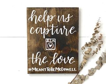 Help Us Capture The Love wood sign | wedding hashtag sign, wedding instagram sign, instagram hashtag sign, rustic wood sign, wood wedding si