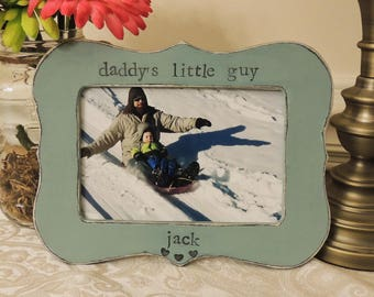 Daddy little guy frame Fathers day gift dad papa daddy apa Personalized Custom photo picture frame son daughter father groom wedding gift