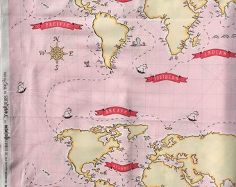 World map fabric etsy out to sea world publicscrutiny Image collections