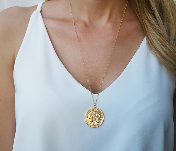 Gold long necklace gold coin necklace coin pendant necklace aloadofball Choice Image