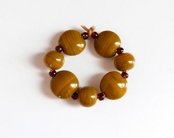 Set glass beads Lampworkperlen artisan lampwork glass beads tiger eye Lentil beads Handmade