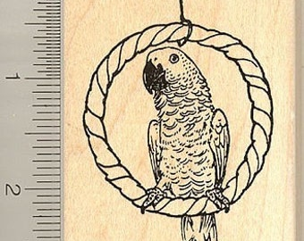 African Grey Parrot Rubber Stamp H9003 Wood Mounted, Perching on Perch Swing
