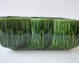 Planter Green UPCO USA Vintage Textured Glazed Ceramic