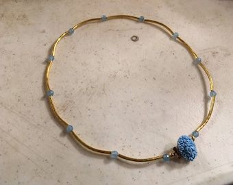 Blue Necklace - Tube Jewelry - Gold Jewellery - Box Clasp - Flower