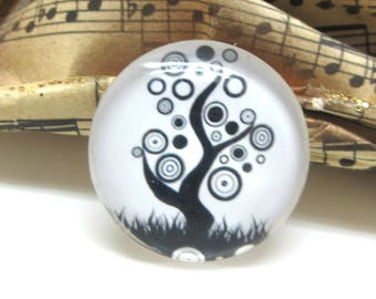 2 cabochons 10 mm tree of life glass 3-10 mm black and white