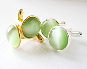 Granny Smith Apple  - Silver Plated Cufflinks For the Groom or Groomsman with Spring Green Catseye Glass Embellishment