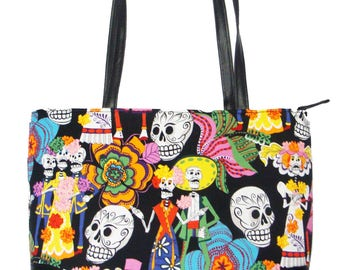 "USA Handmade Handbag With ""LOS NOVIOS"" Pattern Bag Purse, Cotton, New"