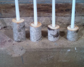 4 white birch candle stick holders
