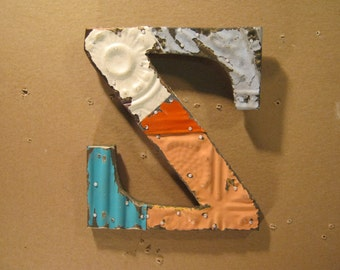 "Tin Ceiling Wrapped 8"" Letter ""Z"" Reclaimed Metal Patchwork  Mosaic Wall Hanging  S1560-13"